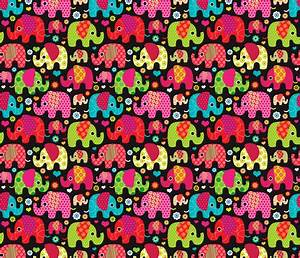 Colorful indian elephant parade fabric by ...