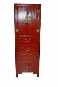 Peking slim cabinet red tall chest chinese reproduction for Kitchen cabinets lowes with hong kong wall art