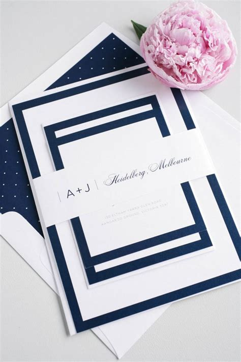 Navy Wedding Invitation Borders Simple Wedding Invite