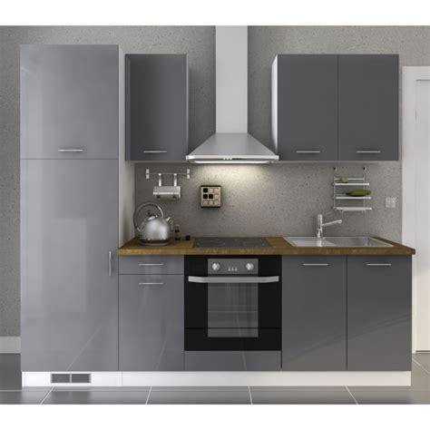 cuisine gris laqué neron cusine complète laqué gris 240cm achat vente