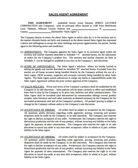 sales agency agreement templates   ms word