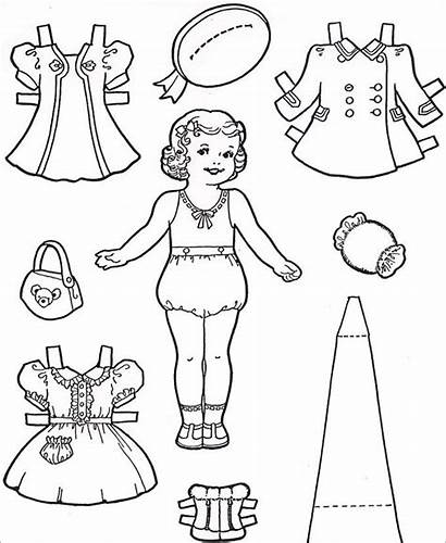 Doll Dolls Paper Template Coloring Pages Templates