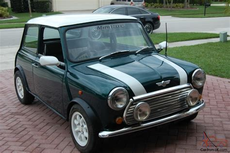 classic mini cooper green sedan  hand drive