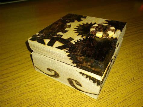 pyrography jewelry box  wood burned box etching