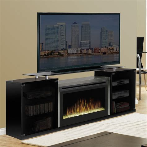Black Entertainment Center With Glass Tv Stand And