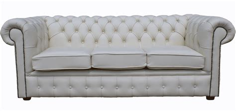 White Leather Sofa Ebay by Chesterfield Traditional 3 Seater White Real Leather Sofa