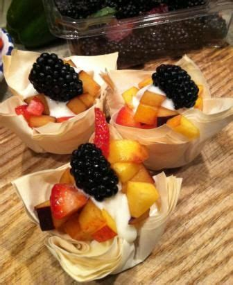 Cheddar, blue cheese and bacon stuffed phyllo mushroom appet. Phyllo Dough Fruit Cups | Phyllo dough, Fruit recipes, Fruit cups