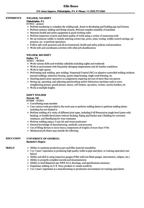 Shift Welder Resume Samples | Velvet Jobs