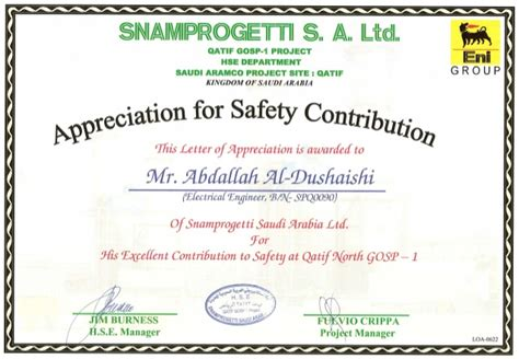 Safety Recognition Certificate Template by 18 2 Snam Qatif Gosp1 Safety Recognition Certificate