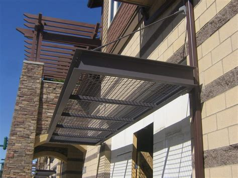 metal canopies hanger rod canopy metal awnings  commercial buildings metal canopy details