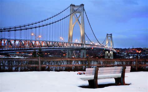 bridge bench  york city city snow wallpapers hd