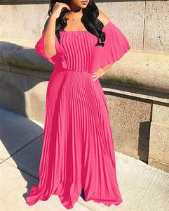 Solid Ruffles Off Shoulder Pleated Dress