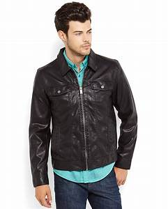 Guess Black Faux Leather Jacket in Black for Men | Lyst