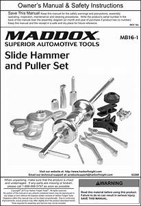 Manual For The 63268 Heavy Duty Hammer And Puller Set 16 Pc