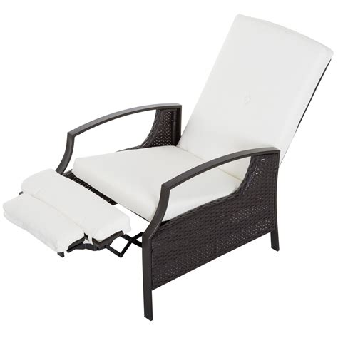 outsunny adjustable outdoor recliner  cushion wicker