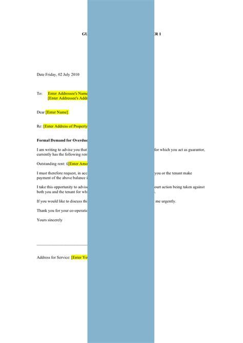 guarantor rent arrears letter  day demand form