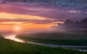 Nature, Landscape, River, Midnight, Mist, Sky, Norway