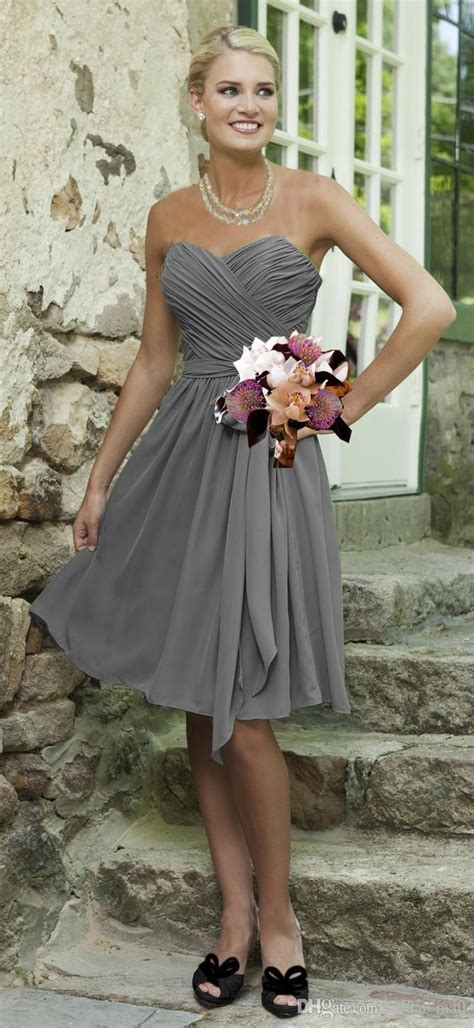simple cheap silver grey bridesmaid dresses knee length