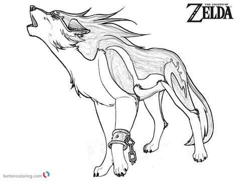 legend  zelda wolf coloring pages sketch  printable coloring pages