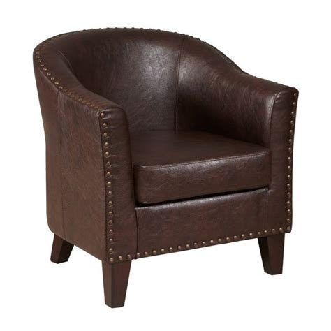 pri faux leather accent chair in brown ds 2278 900 2