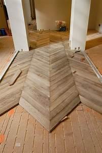 Installation of the parquet floor chevron in oak gray