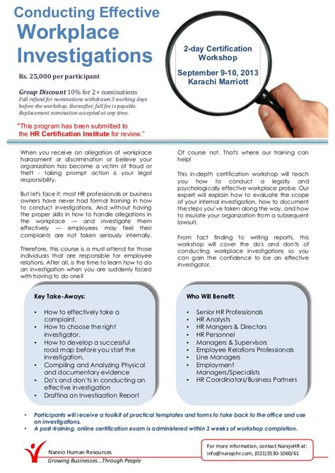 conducting effective workplace investigation workshop