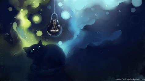 cat fright art lamp apofiss desktop background