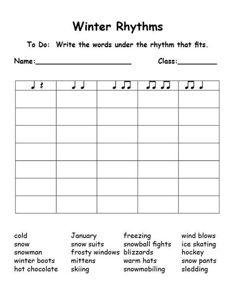 Rhythm Worksheets Free  Kidz Activities