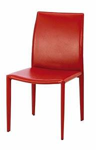 Chaise Design Cuir Recycl Patricia Rouge Mobilier
