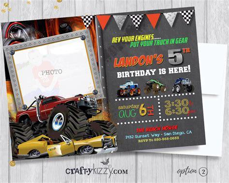 monster truck birthday invitation  roading birthday