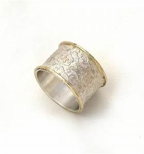Wide silver wedding ring flower and leaf pattern women39s for Wedding rings silver and gold