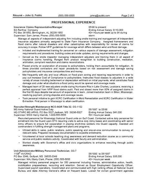 Federal Resume by Sle Federal Resume Template Business