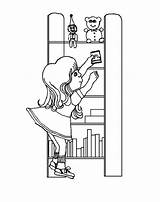 Coloring Bookshelf Putting Shelves Template Place sketch template