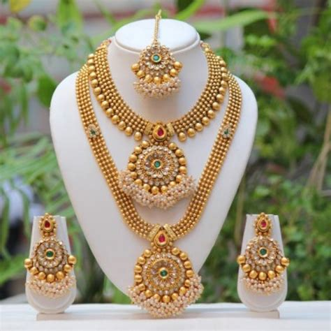 buy exclusive flower design multicolor bridal necklace at best price 504351