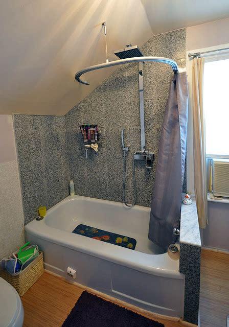 kvartal shower curtain  dormered bathroom ikea hackers
