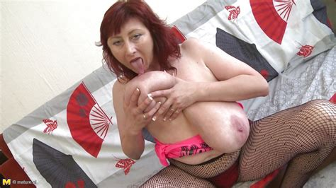 Jana P In Redhead Mature Plays With Her Jugs Hd From