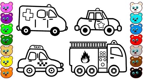 city vehicles cars coloring pages  kids youtube