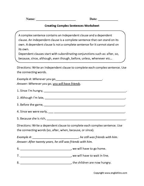 creating complex sentences worksheet complex sentences