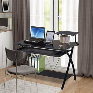 Pc, Computer, Desk, Computer, Gaming, Station, Desk, With, Storage, Shelves, And, Keyboard, Tray, Tempered