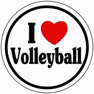 I, Love, Volleyball, Round, 3, U0026quot, Vinyl, Decals, With, Red, Heart