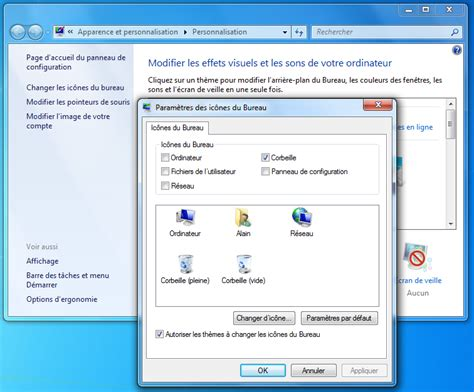 windows 7 icone bureau icônes sous windows aidewindows