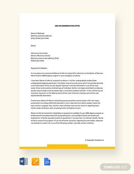 FREE MBA Recommendation Letter Template - Word (DOC ...