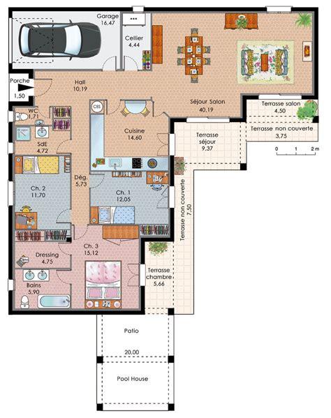 plan de maison plain pied 3 chambres gratuit exemple plan maison plain pied plans maisons