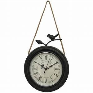 Grosse Pendule Murale : style ancienne horloge murale en mtal fer rond oiseau cm ~ Teatrodelosmanantiales.com Idées de Décoration