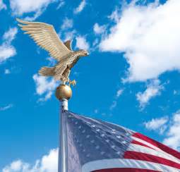 Solar Yard Decorations by Flagpole Eagle Bald American Patriotic Topper By Whitehall