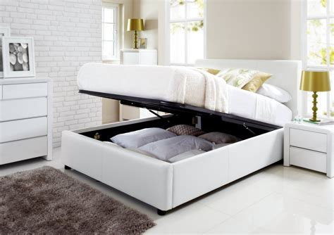 White King Headboard With Storage by Henley White Leather Ottoman Storage Bed Storage Beds Beds
