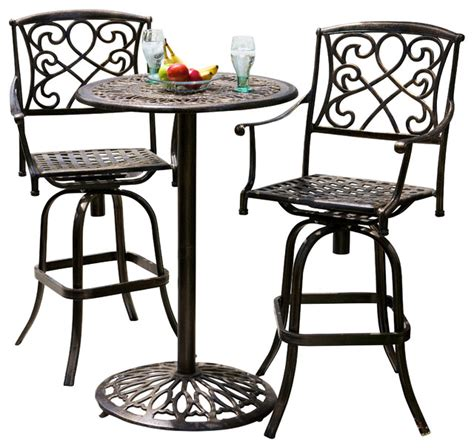 outdoor 3 cast aluminum bistro set copper