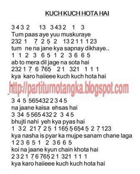 not lagu naruto not angka lagu kuch kuch hota hai india not angka lagu