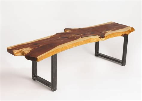 custom  edge cedar coffee table  russ connell metal