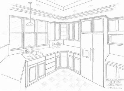 Inside Drawing Kitchen Sketch Interior Sketches Table